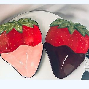 Clay art Stone Life Strawberry Bowl Hand painted